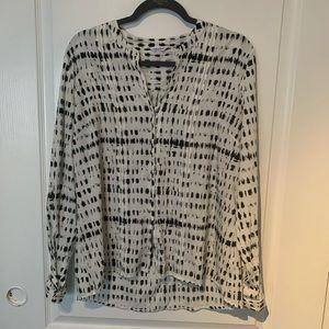 Calvin Klein long Sleeve black and white blouse.